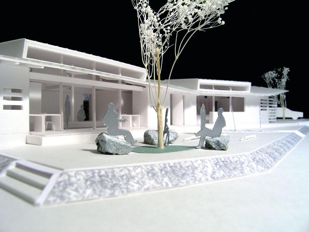 憩いの場所の庭模型